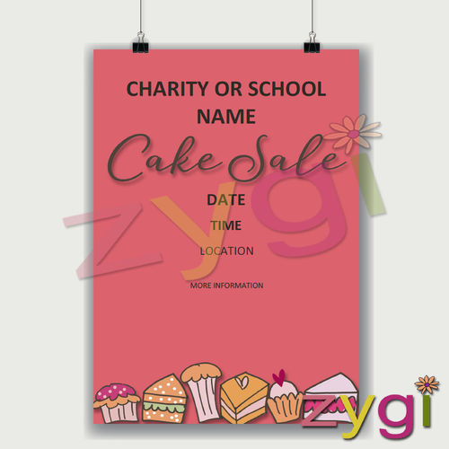charity PTA poster editable cake sale poster