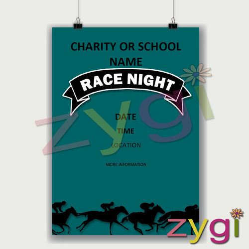 charity PTA poster editable race night poster
