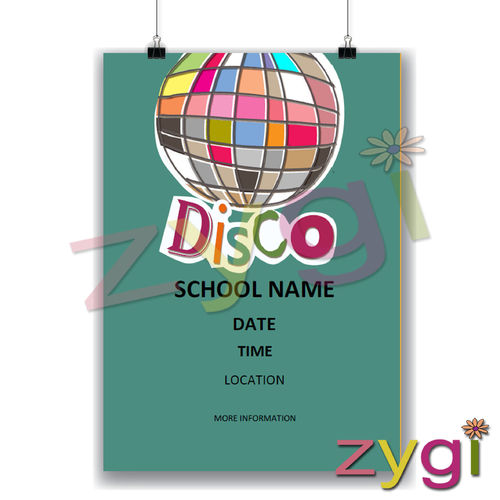charity PTA poster editable disco poster