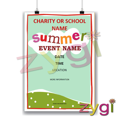 charity PTA poster editable summer event poster