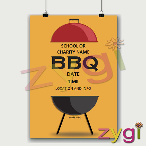 charity PTA poster editable barbeque poster